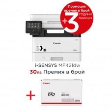 Черно-бели лазерни Мултифункционални устройства Canon i-SENSYS MF421dw Printer/Scanner/Copier + Canon CRG-052